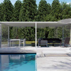 pergola cu 2 module cu plafon din panza, pereti laterali si pardoseala din lamele fixe